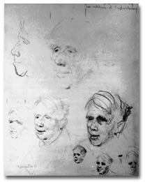Studies for portrait of Robert Frost