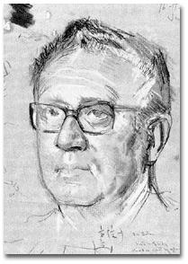 Sketch for portrait of Henry Kissinger