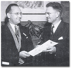 Dr. Cope receiving the Most Distinguished Citizen award from B'nai B'rith in the early 1950's