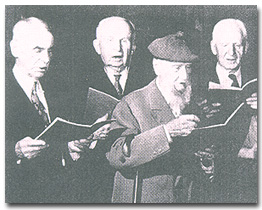 """Berkeley's first """"Doctors of Durability"""" participate in a ceremony of recognition. From left; A.P. Lange, 82; Earl Morse Wilbur, 86; Bernard Maybeck, 92; Frank Lawrence, 80."""